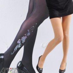 YL1106-3B Laser light tattoo tights-Bowknot (Black)