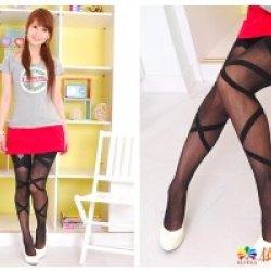 YL1304B Bow shape thigh Stockings (black)